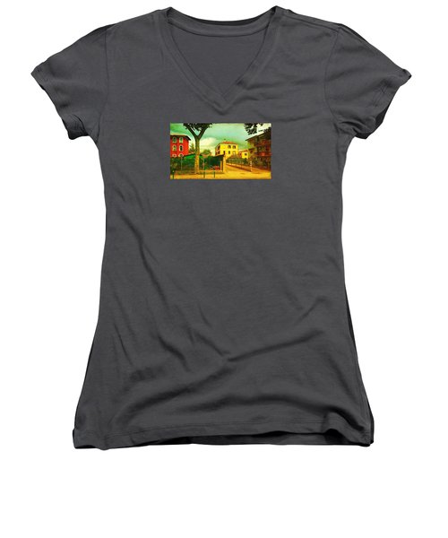 Women's V-Neck T-Shirt (Junior Cut) featuring the photograph The Yellow House by Anne Kotan