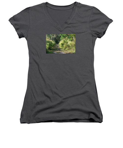 The Yellow Trail Women's V-Neck T-Shirt (Junior Cut) by Kenneth Albin