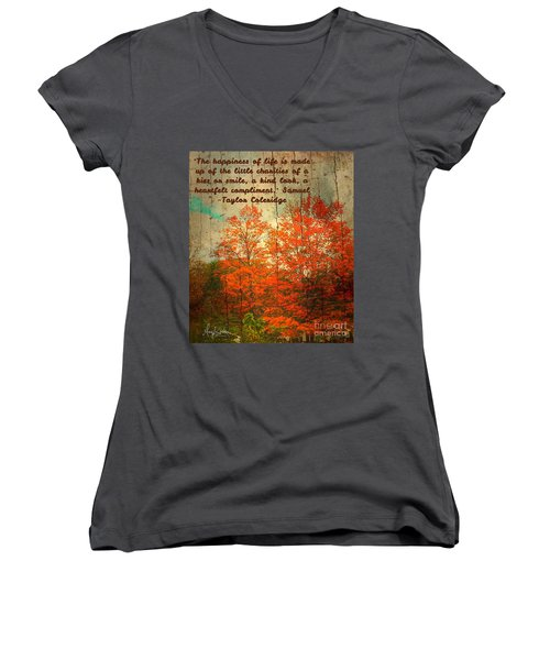 The Happiness Of Life By Taylor Coleridge Women's V-Neck