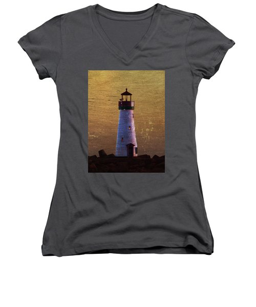 Women's V-Neck T-Shirt (Junior Cut) featuring the photograph There Is A Lighthouse by B Wayne Mullins
