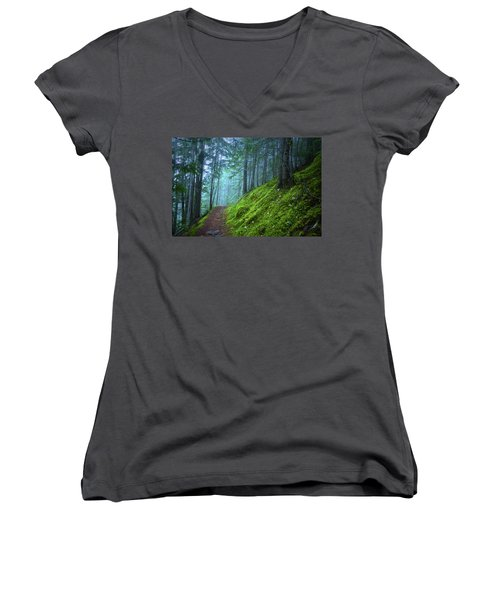 Women's V-Neck T-Shirt (Junior Cut) featuring the photograph There Is Light In This Forest by Tara Turner