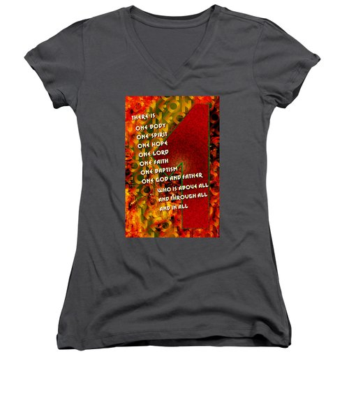 There Is Only One Women's V-Neck T-Shirt (Junior Cut) by Chuck Mountain