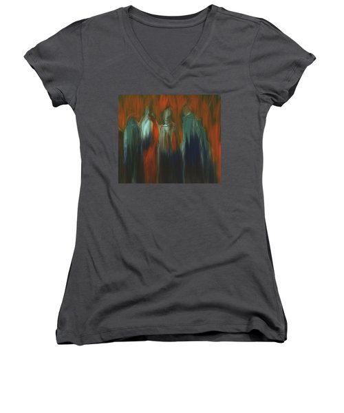 Women's V-Neck T-Shirt (Junior Cut) featuring the painting There Were Four by Jim Vance