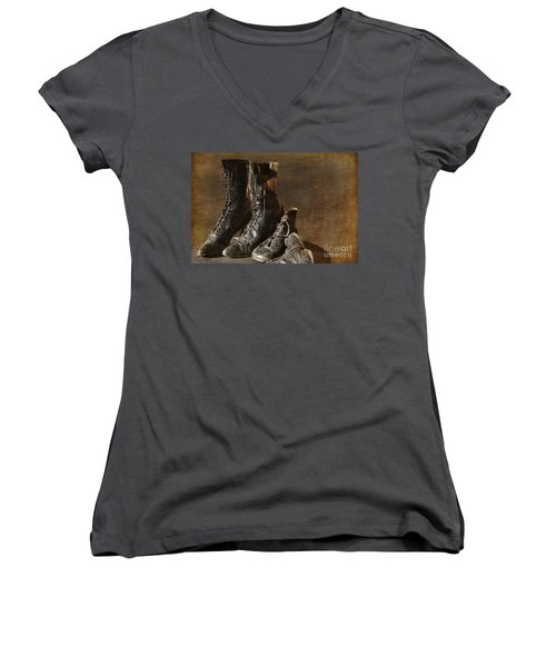 These Boots Are Made For Walking Women's V-Neck T-Shirt (Junior Cut) by Liane Wright