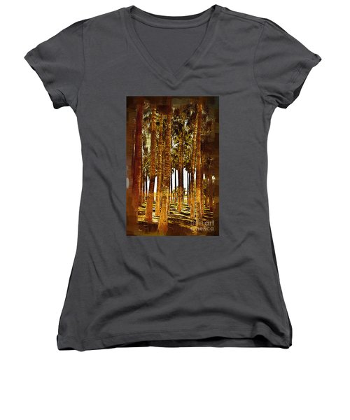 Thick Palm Trees Women's V-Neck T-Shirt (Junior Cut) by Kirt Tisdale