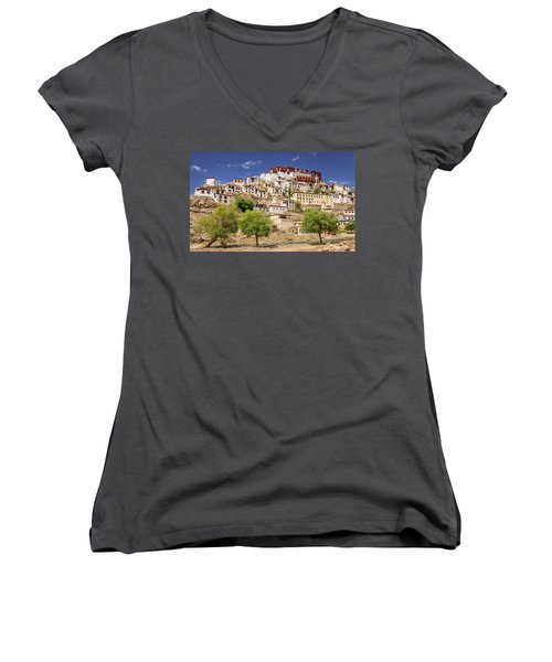 Women's V-Neck T-Shirt (Junior Cut) featuring the photograph Thikse Monastery by Alexey Stiop