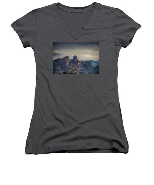 Women's V-Neck T-Shirt (Junior Cut) featuring the photograph Thimble Peak Sunrise by Dan McManus