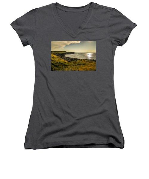 Thinking Sunset Women's V-Neck T-Shirt (Junior Cut) by Will Burlingham