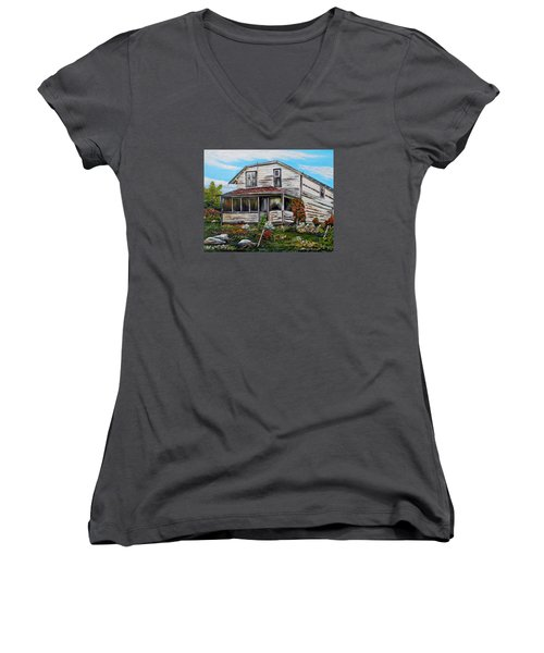 Women's V-Neck T-Shirt (Junior Cut) featuring the painting This Old House 2 by Marilyn  McNish