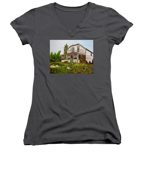 Women's V-Neck T-Shirt (Junior Cut) featuring the painting This Old House by Marilyn  McNish