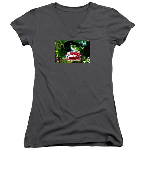 Women's V-Neck T-Shirt (Junior Cut) featuring the mixed media This Place Is Reserved For The Boss by Gabriella Weninger - David