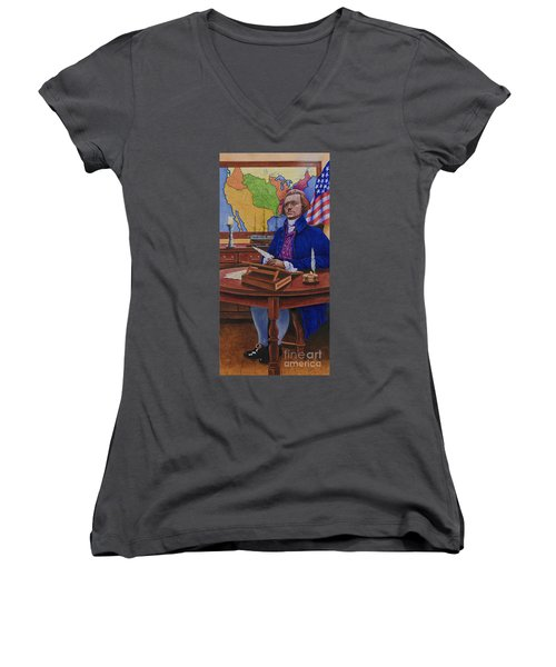Women's V-Neck T-Shirt (Junior Cut) featuring the painting Thomas Jefferson by Michael Frank