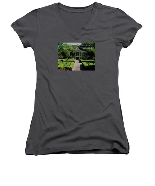 Thomas Jefferson On Gardens Women's V-Neck T-Shirt (Junior Cut) by Deborah Dendler