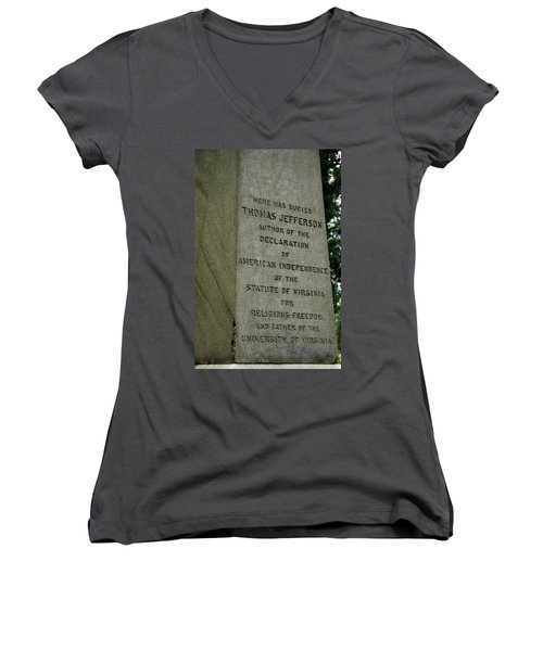 Thomas Jefferson Tombstone Close Up Women's V-Neck T-Shirt