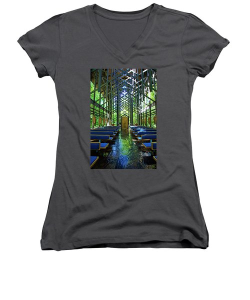 Women's V-Neck T-Shirt (Junior Cut) featuring the photograph Thorncrown Chapel Serenity by Cricket Hackmann