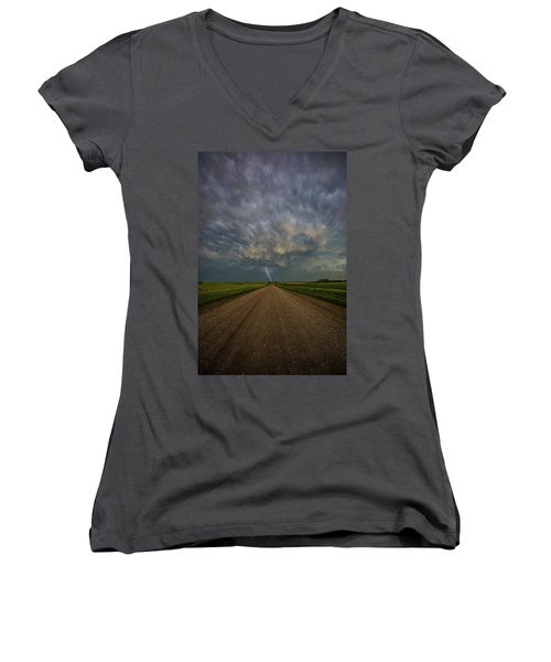 Women's V-Neck T-Shirt featuring the photograph Thor's Chariot  by Aaron J Groen