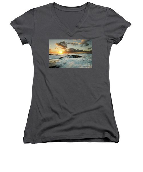 Women's V-Neck T-Shirt (Junior Cut) featuring the photograph Thors Well Cape Perpetua 1 by Bob Christopher