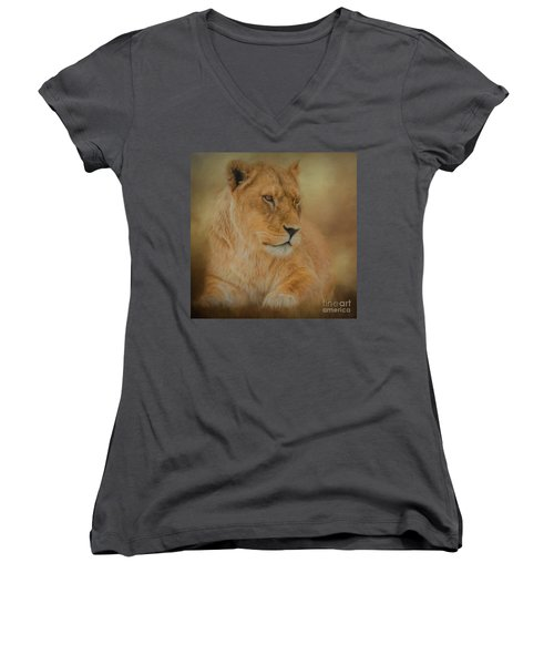 Thoughtful Lioness - Square Women's V-Neck