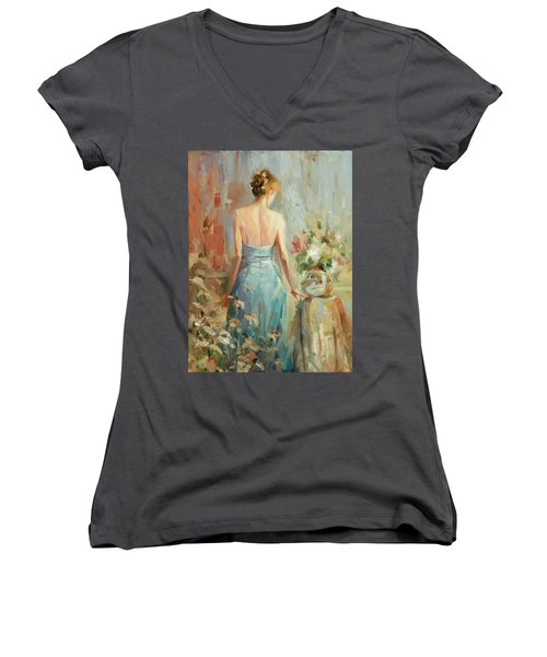 Women's V-Neck featuring the painting Thoughtful by Steve Henderson