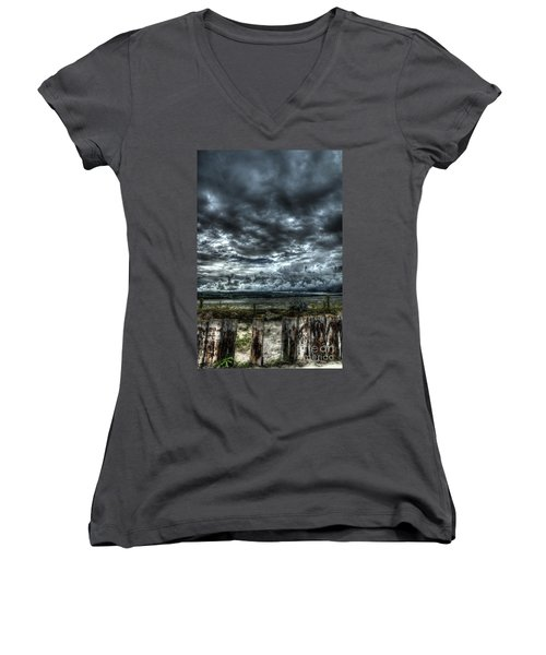 Threatening Sky Women's V-Neck (Athletic Fit)
