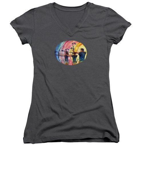 Women's V-Neck T-Shirt (Junior Cut) featuring the painting Three 10s by Hailey E Herrera