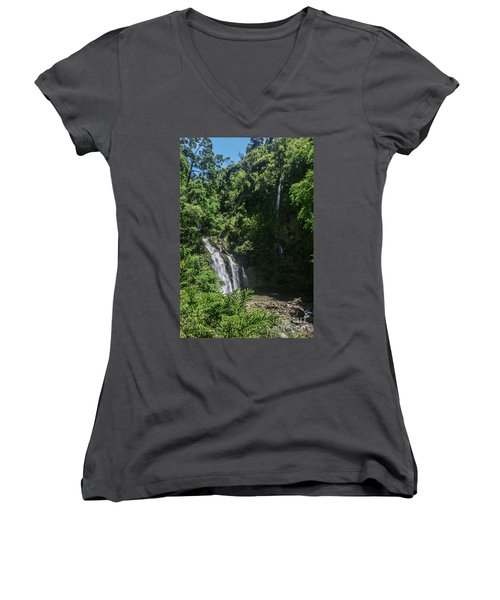 Three Bear Falls Or Upper Waikani Falls On The Road To Hana, Maui, Hawaii Women's V-Neck (Athletic Fit)