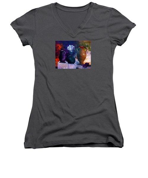 Women's V-Neck T-Shirt (Junior Cut) featuring the painting Three Best Friends by Lisa Kaiser
