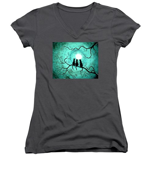Three Black Cats Under A Full Moon Women's V-Neck T-Shirt (Junior Cut) by Laura Iverson