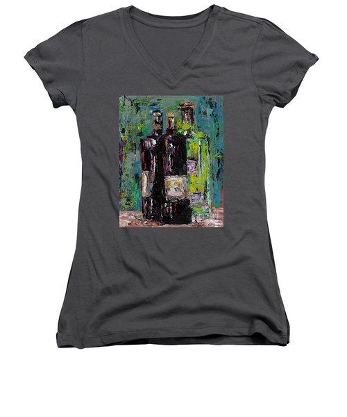 Three Bottles Of Wine Women's V-Neck T-Shirt