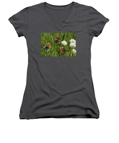 Three Buckeye Butterflies On Wildflowers Women's V-Neck T-Shirt