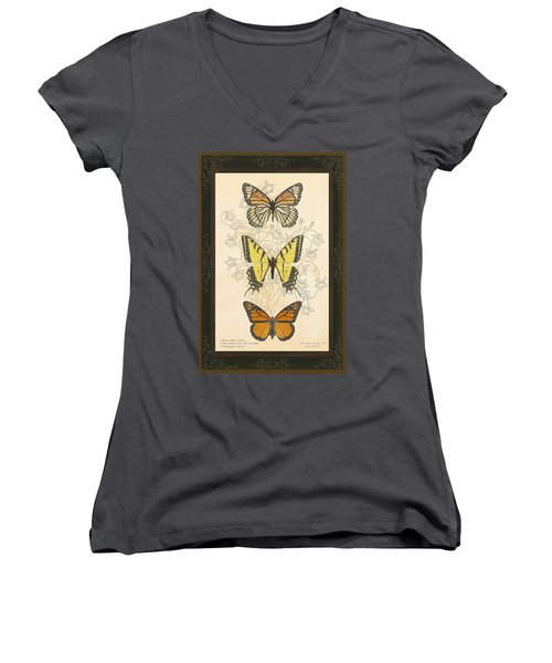 Three Butterflies Women's V-Neck T-Shirt (Junior Cut)