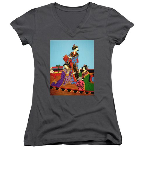 Three Geishas Women's V-Neck T-Shirt (Junior Cut) by Stephanie Moore