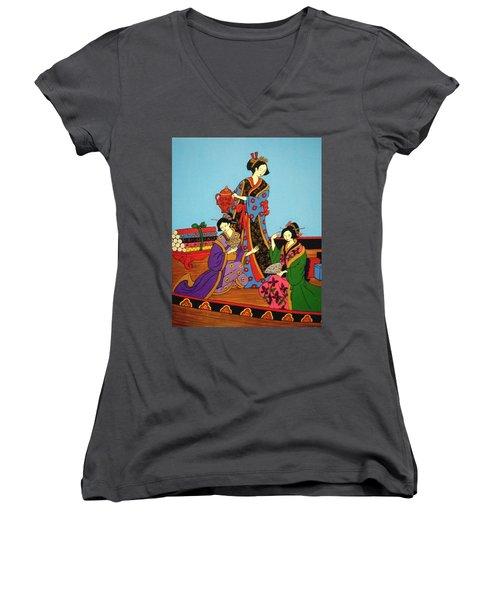 Three Geishas Women's V-Neck T-Shirt