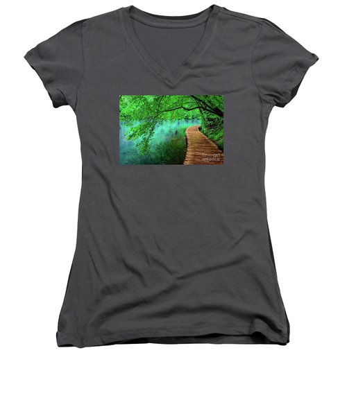 Tree Hanging Over Turquoise Lakes, Plitvice Lakes National Park, Croatia Women's V-Neck