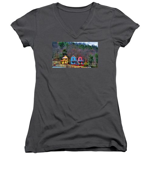 Women's V-Neck T-Shirt (Junior Cut) featuring the photograph Three Houses Hot Springs Ar by Diana Mary Sharpton