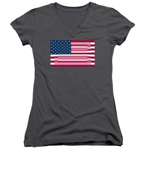 Three Layered Flag Women's V-Neck T-Shirt