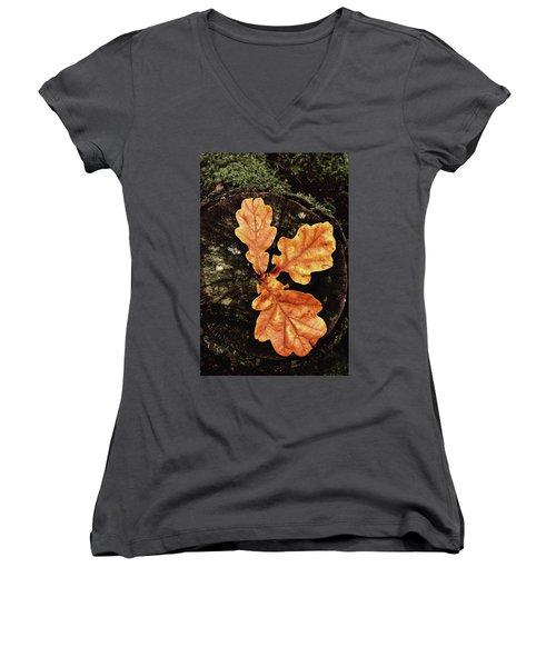 Three Leaves Women's V-Neck T-Shirt
