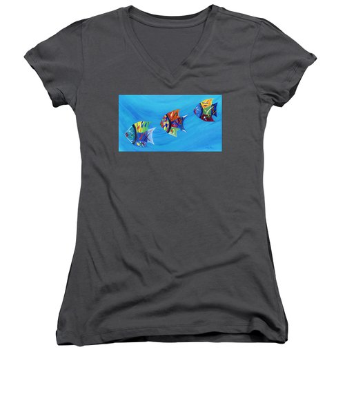 Women's V-Neck T-Shirt featuring the painting Three Little Fishy's by Jamie Frier