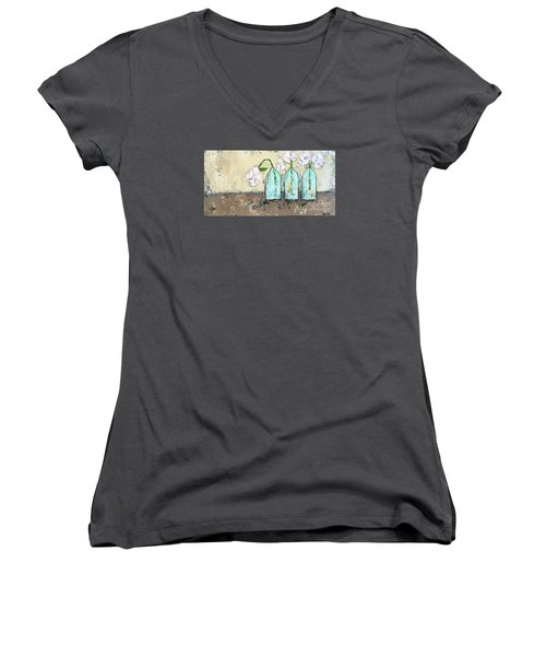 Three Of A Kind Women's V-Neck T-Shirt (Junior Cut) by Kirsten Reed