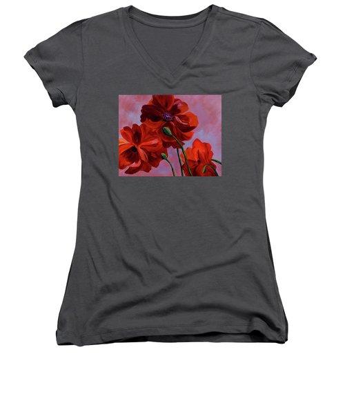 Three Oriental Poppies Women's V-Neck T-Shirt