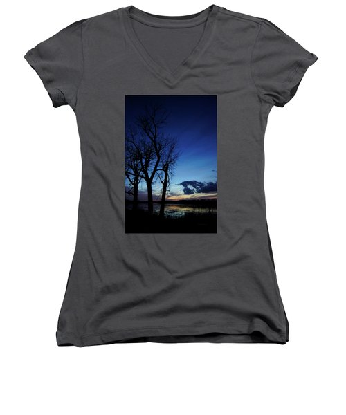 Women's V-Neck T-Shirt (Junior Cut) featuring the photograph Three Sisters by Cricket Hackmann