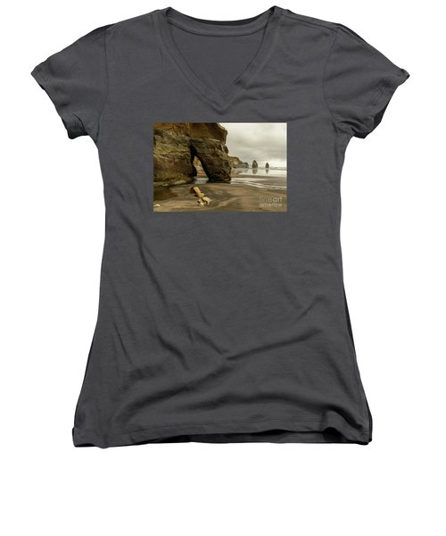Three Sisters Women's V-Neck T-Shirt (Junior Cut) by Werner Padarin