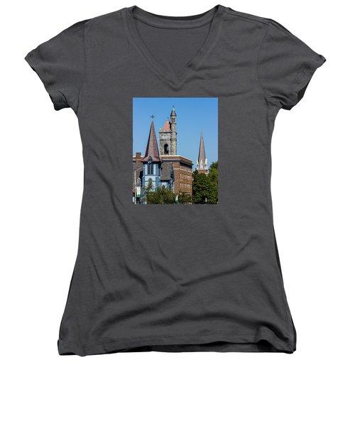 Three Steeples Of St Johnsbury Vermont Women's V-Neck T-Shirt (Junior Cut) by Tim Kirchoff