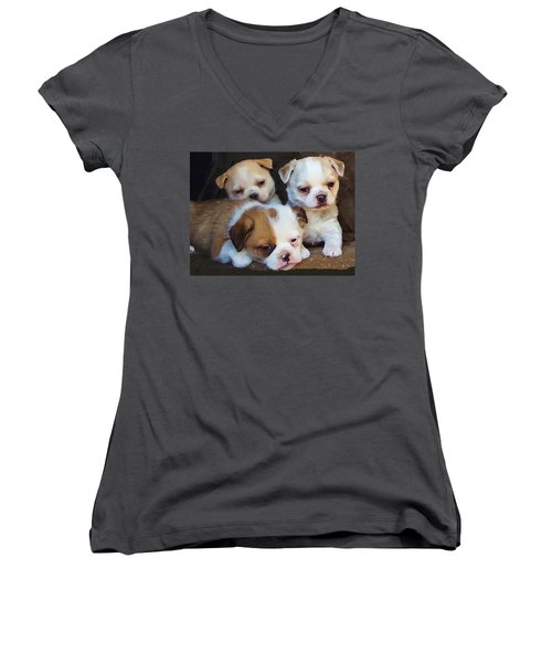 Women's V-Neck featuring the digital art Three Sweeties by Shelli Fitzpatrick