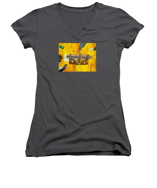 Women's V-Neck T-Shirt (Junior Cut) featuring the painting Three Violins by Jock McGregor