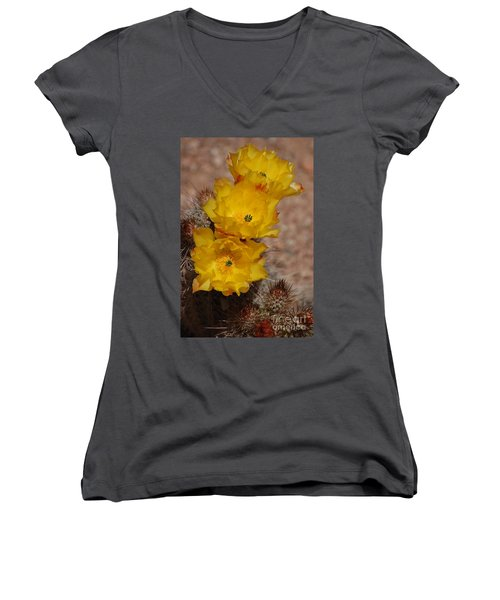 Three Yellow Cactus Flowers Women's V-Neck (Athletic Fit)