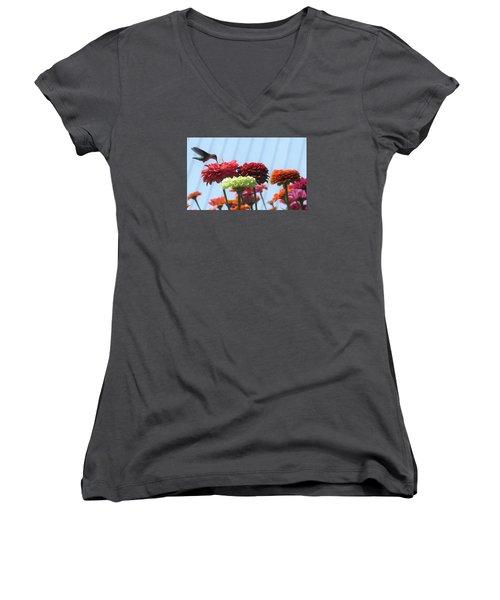 Thristy Hummer Women's V-Neck T-Shirt (Junior Cut) by Jeanette Oberholtzer