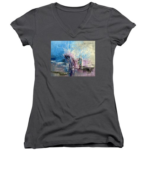 Through Morning's Light Women's V-Neck T-Shirt (Junior Cut) by Tatiana Iliina