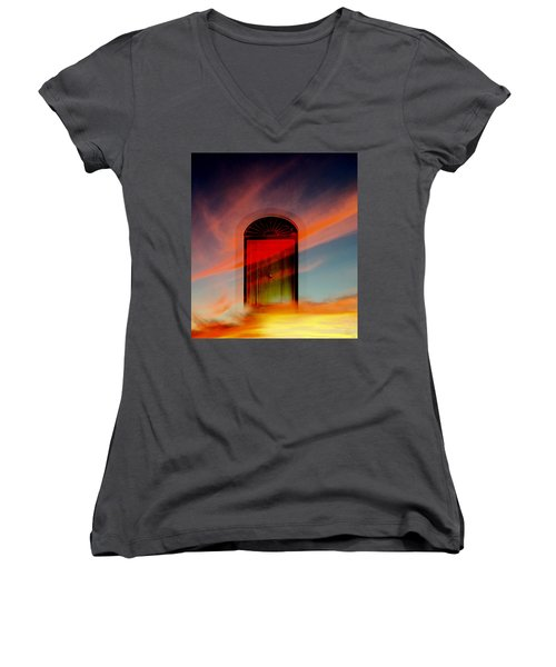 Women's V-Neck T-Shirt (Junior Cut) featuring the digital art Through The Door by Katy Breen