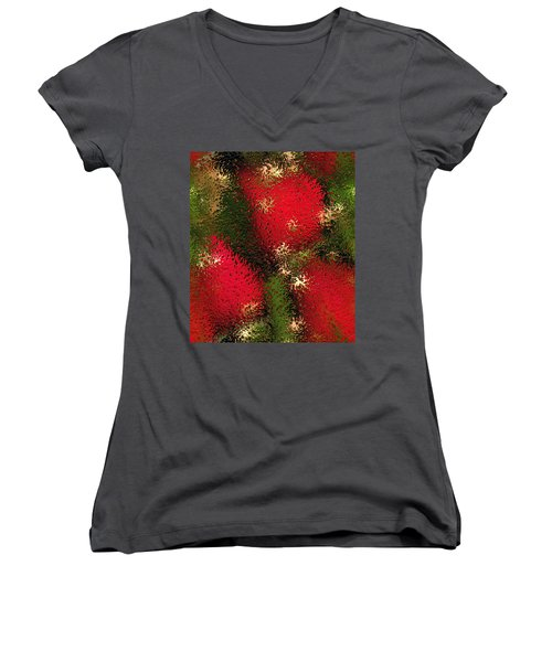 Strawberries Behind  The Glass Women's V-Neck T-Shirt (Junior Cut) by Maciek Froncisz